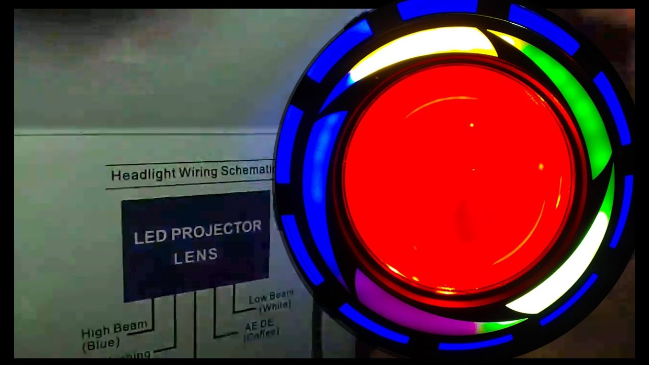 medium resolution of led projector lens with flashing mode with multi colour angel eye red devil with cooling fan