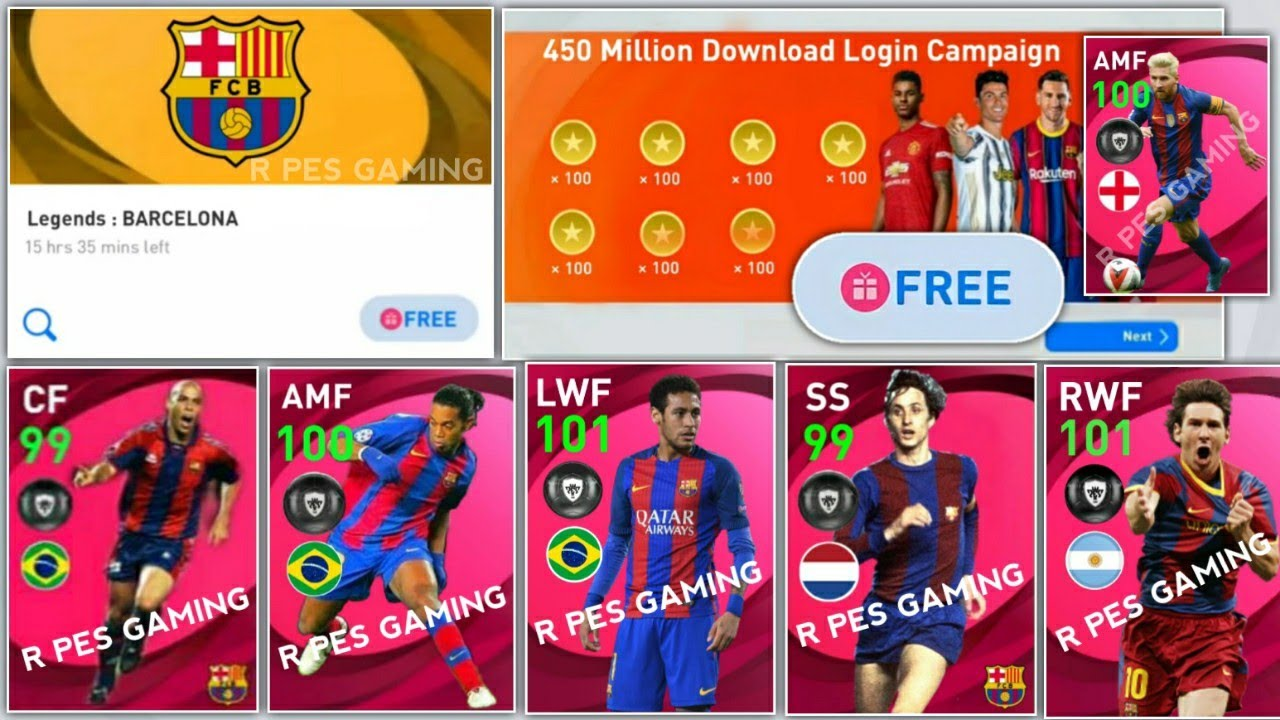 Barcelona Anniversary Campaign In Pes Mobile 2021 | Free Legends,Iconic Moments,Coins Login Campaign