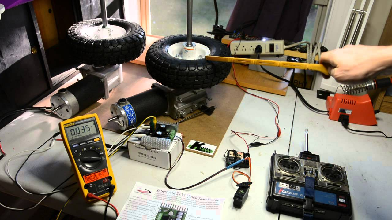 wheel chair motor lazy boy big and tall office staples krill labs 2x32 amp sabertooth driving 2 jazzy motors w rc youtube