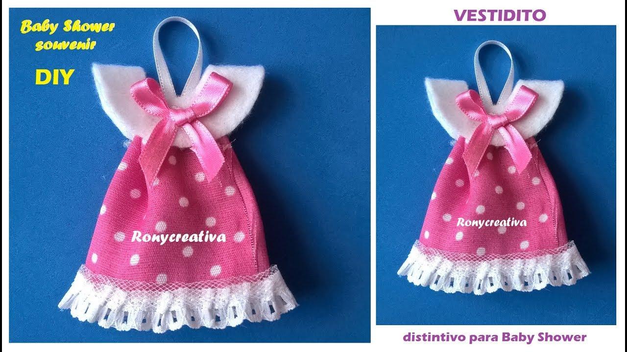 76bbd2a3e Distintivo para Baby Shower - vestidito de niña VIDEO TUTORIAL - YouTube