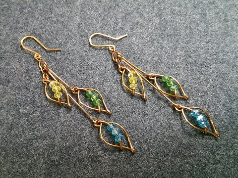 How To Make Leaves Earring With Crystal Beads Handmade