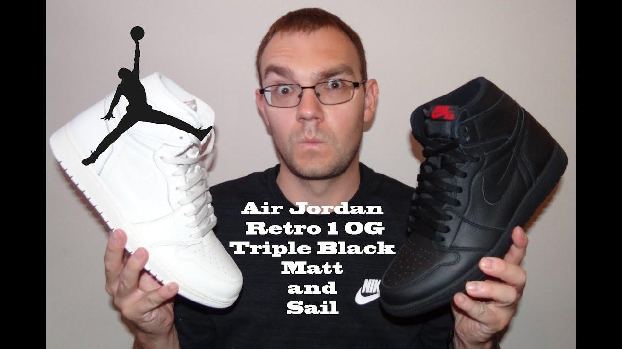 f80bf9de0a7eef Air Jordan 1 Retro OG Triple Black Matt and Sail Review - YouTube