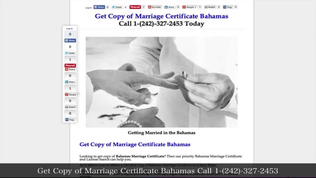 Get Copy Of Marriage Certificate Bahamas Youtube