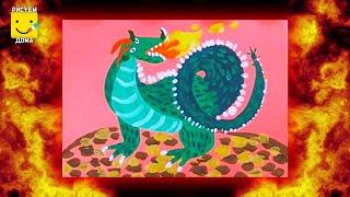 Как нарисовать дракона - урок рисования для детей от 4 лет, гуашь,  рисуем дома поэтапно(Мы ВКонтакте - http://vk.com/risuem_doma Мы в Инстаграм - https://instagram.com/risuem_doma/ Дети рисуют пошагово, дракон, динозавр,..., 2016-06-19T17:59:20.000Z)