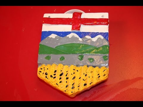 Painting the Alberta Provincial Shield Non Fired Clay Project