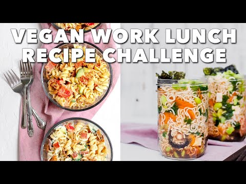VEGAN WORK LUNCH RECIPE CHALLENGE | Mason Jar Ramen vs Buffalo Chick'n Pasta Salad