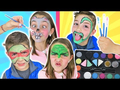 Brother VS Sister FACE PAINT CHALLENGE Round 2 | Animal and Superhero Face Paint For Kids