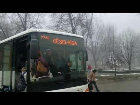 Cesis train bus station Latvia in January