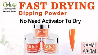 Orange Color Dip Powder Nails using Fast Drying Dip Powder