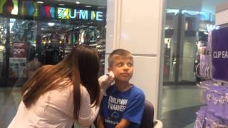 9 Year Old Boy Gets His Ears Pierced