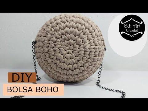 a80d43eda Como fazer bolsa - Bolsa boho - Bolsa redonda - Bag crochet - DIY ...
