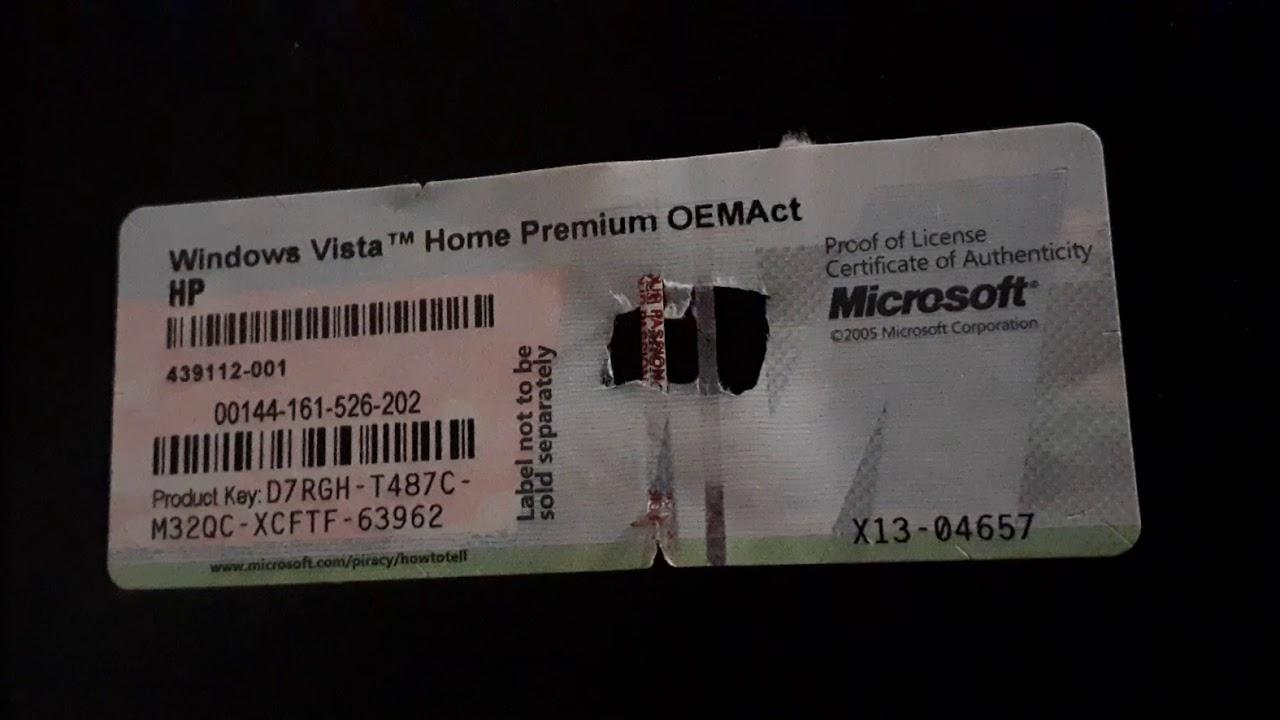 Windows vista Home Premium product key - YouTube