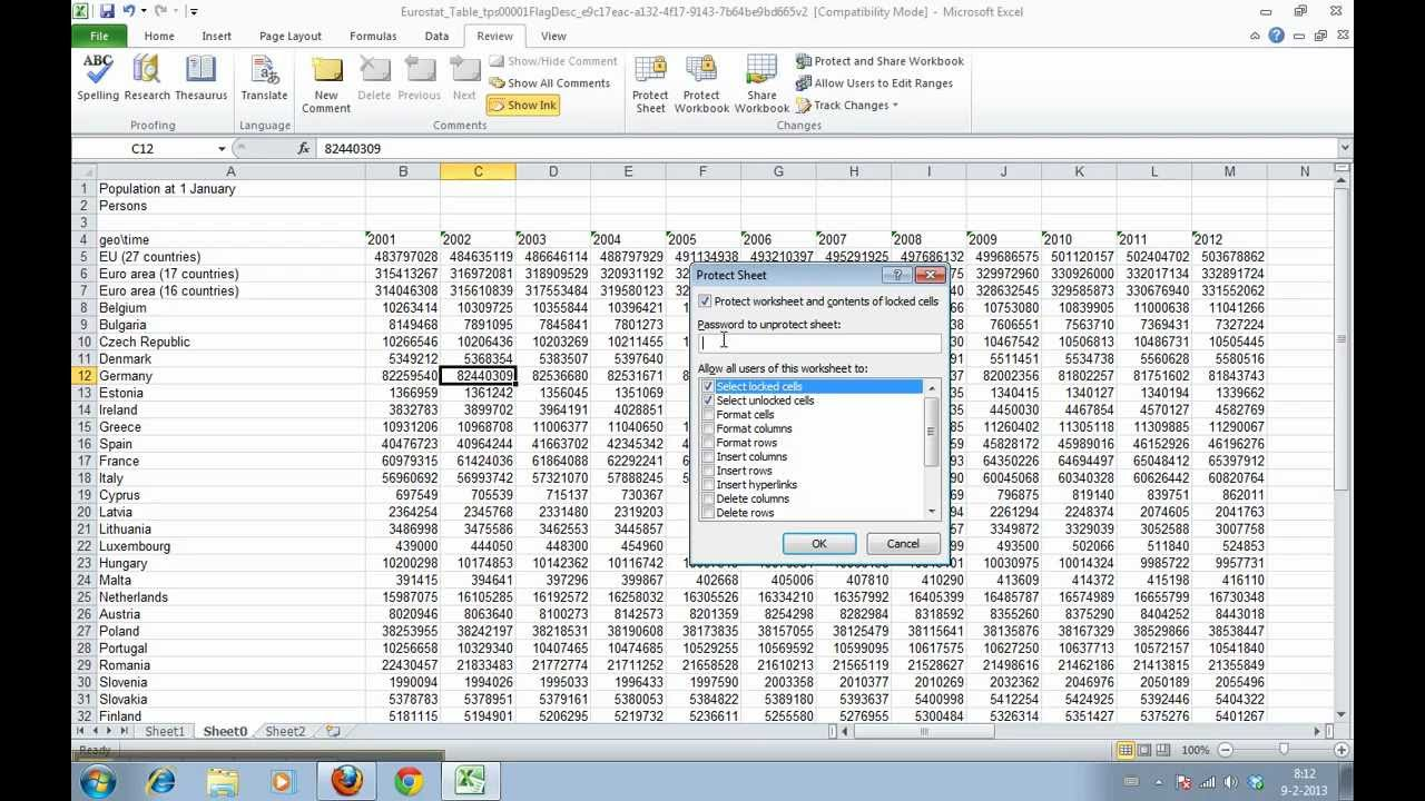 worksheet How To Lock Worksheet In Excel 2010 how to protect your worksheet and cells in excel 2010 youtube 2010