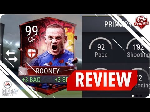 FIFA MOBILE 99 ROONEY REVIEW #FIFAMOBILE 99 ENGLAND HERO WAYNE ROONEY PLAYER REVIEW STATS GAMEPLAY