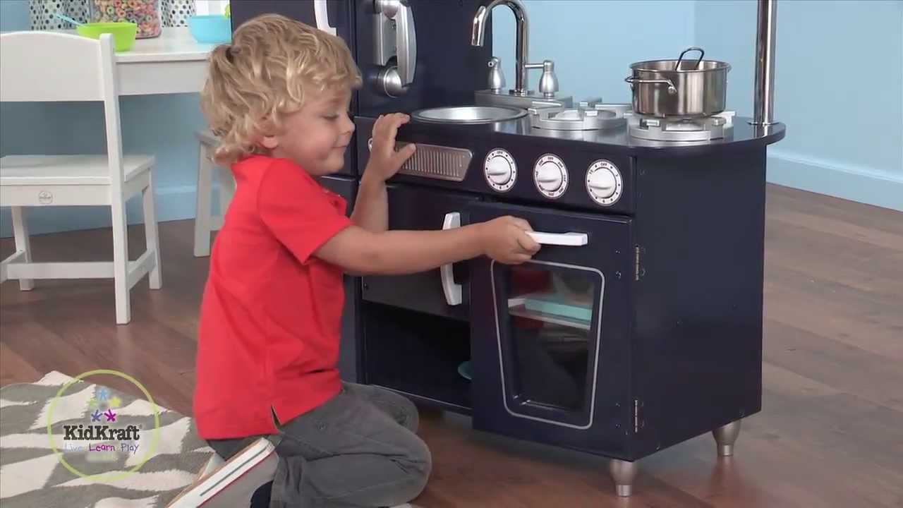 Kidkraft Toy Kitchen Tables Set Children S Navy Vintage Play Review Youtube