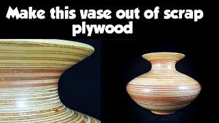 Woodturning plywood scraps - Ξυλοτορνος , κατασκευή βάζου απο κόντρα πλακέ !