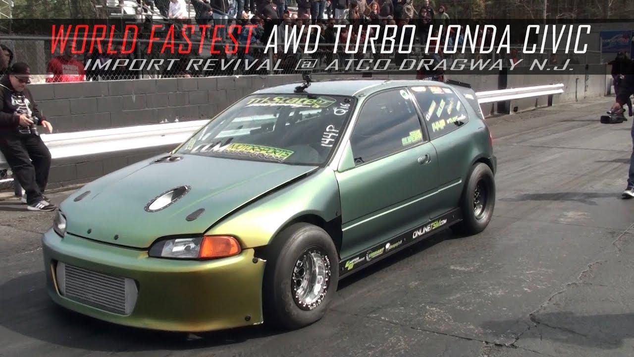 world fastest awd turbo honda civic  import revival youtube