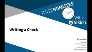 Writing a Check | NetSuite Demo | Sikich LLP