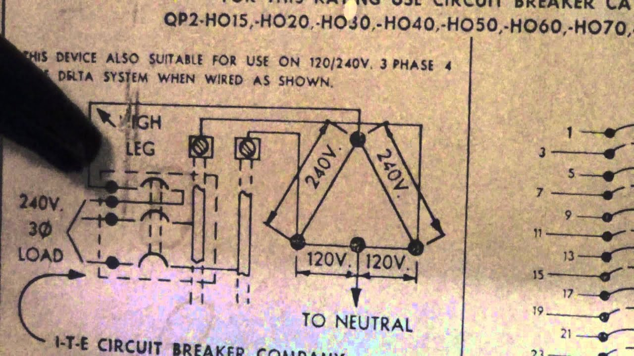 hight resolution of high leg delta breaker in a single phase box circa 1971