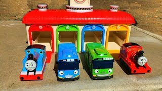 Thomas and Friends Trains, Disney Cars Toys  lightning McQueen at Tayo the Little Bus Garage