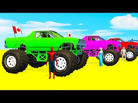 COLOR for Kids MONSTER TRUCK and ATV - Cars Superheroes Cartoon and Colors for Children