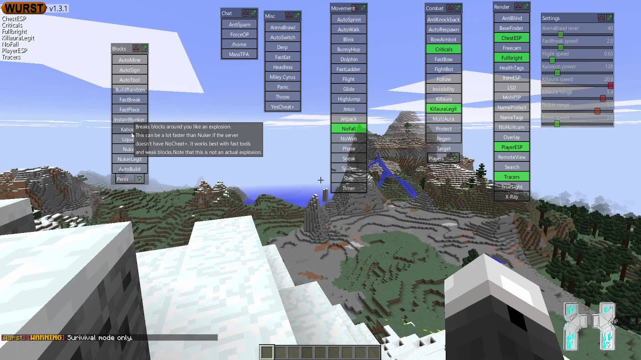 Minecraft : 1.8 .x Hacked Client - Wurst - The Amazing ...