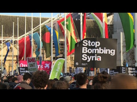 Protest against Syria strikes held outside UK Parliament