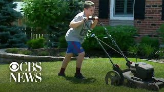 Boy mows lawns to raise money for Black Lives Matter