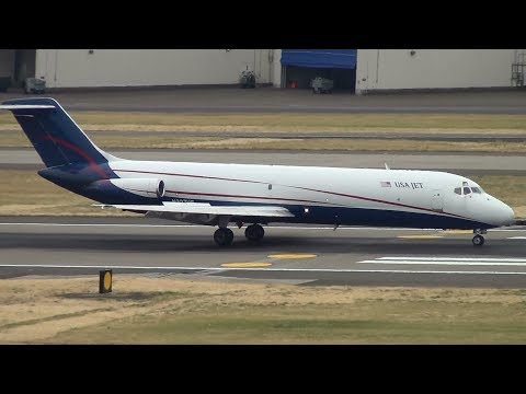 USA Jet Airlines DC-9-30 [N327US] Landing Portland Airport (PDX)