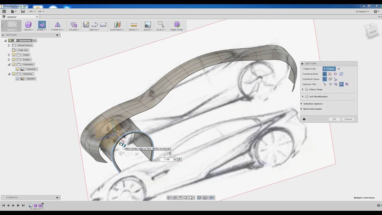 How to create basic car modeling on FUSION 360