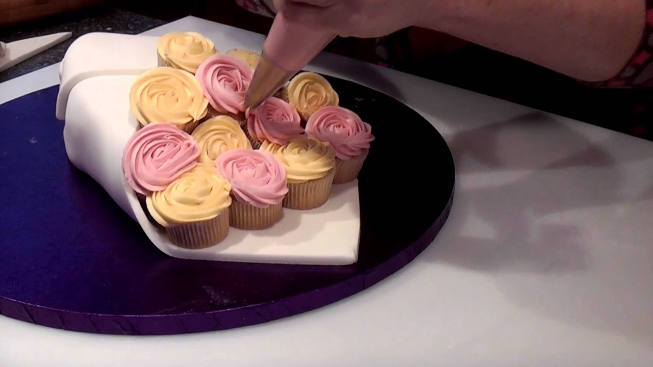 How To Make A Rose Cupcake Bouquet - Cake Craft World Video 7 - YouTube