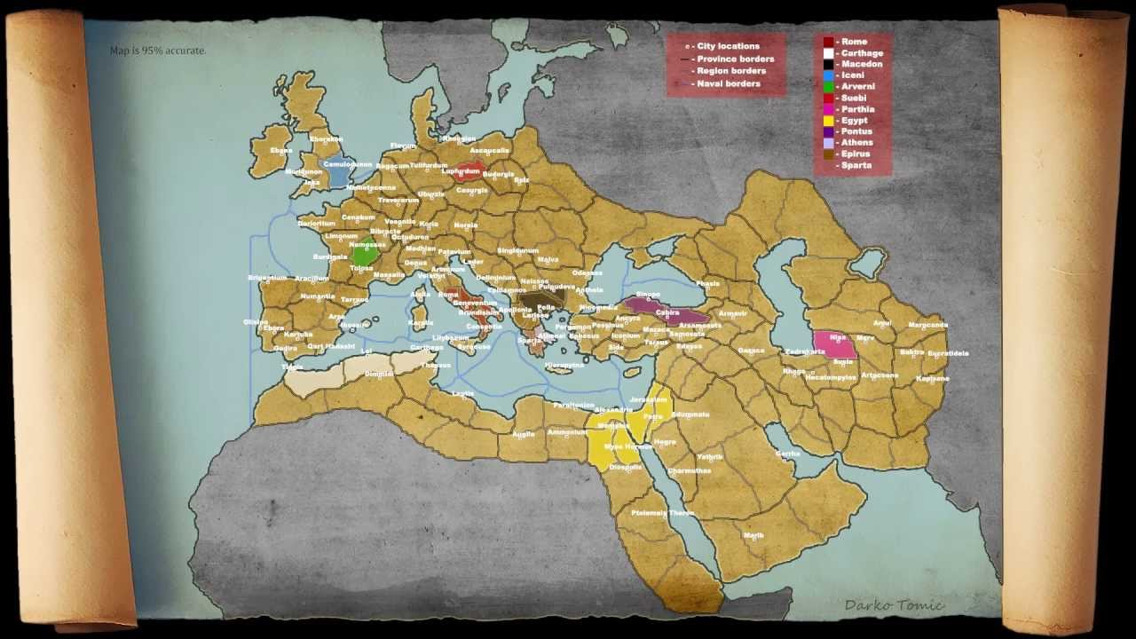 Total War Rome Campaign Map New Update YouTube - Rome total war map city locations