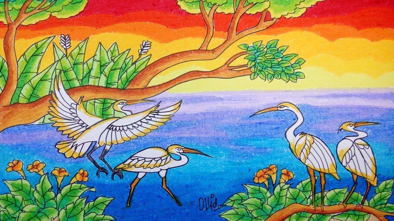 Cara Menggambar Burung Kuntul Dan Pemandangan Dengan Crayon Oil Pastel Gambar Burung Burung Cara Menggambar