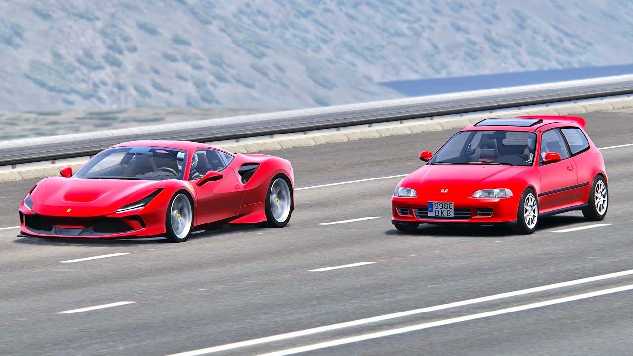 Ferrari F8 Tributo Vs Honda Civic Eg6 1500 Hp Drag Race 20km Youtube