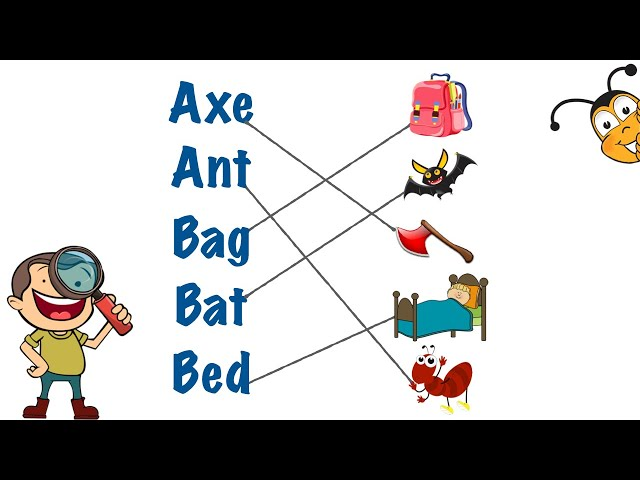 English Exercise || Matching 3 Letter Words with their Correct Pictures || 3 Letter Words for Kids