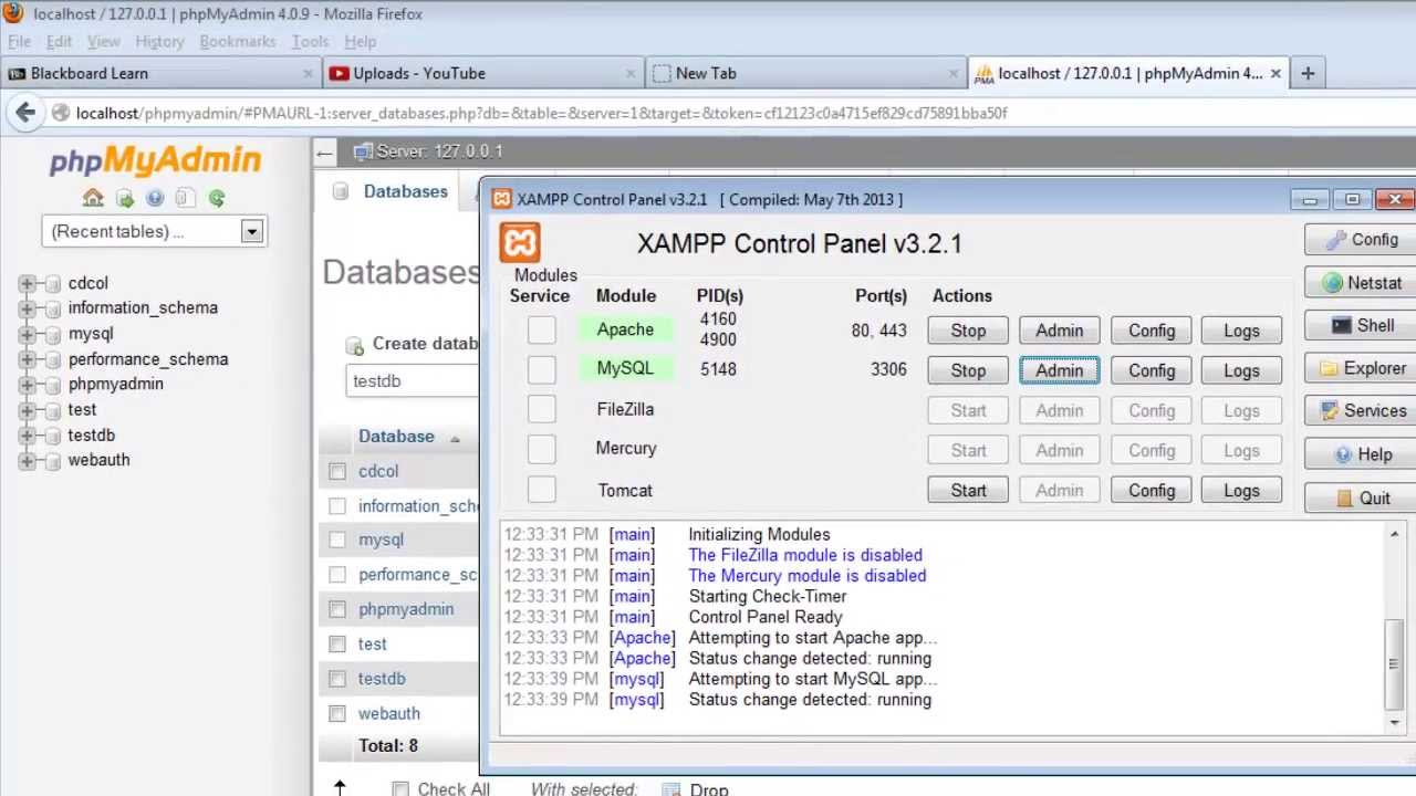 Connect To MySQL With PHP In XAMPP / Create A New Database