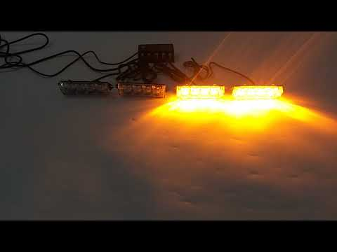 4In1 16 LED Amber Flash Strobe Warn Light Deck Dash Grill Remote Control Yellow 12V