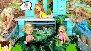 Broma Con Slime - Bebe de Elsa y Chelsea llenan la Piscina de Slime - Travesuras en Casa de Barbie