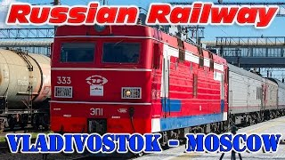 Fast Train Vladivostok - Moscow in Khabarovsk. /ЭП1 Скорый поезд Владивосток - Москва в Хабаровске