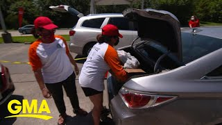 Wells Fargo helps families in need by turning key locations into drive-up food banks l GMA