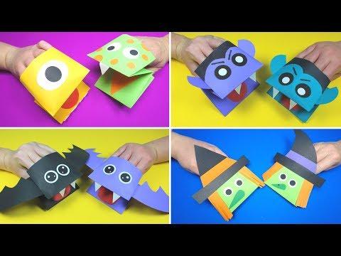 Halloween Crafts for Kids | Halloween Paper Hand Puppets