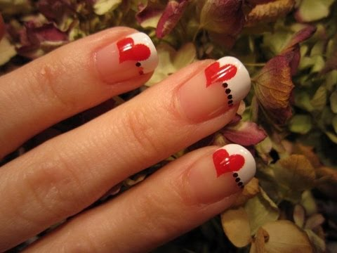 Red Heart French Tip Nail Art Tutorial