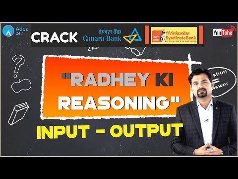 Input - Output For SYNDICATE and Canara Bank By Radhey Sir | Reasoning Tricks