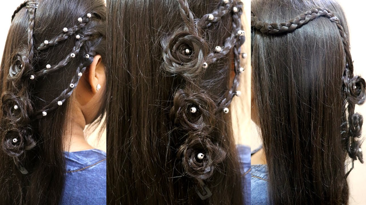 New Style Choti Floral Braid Rose Flower Hair Style For Parties
