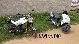 Honda Navi Vs Honda Dio Comparison  In Hyderabadi  With Wheelies!!!