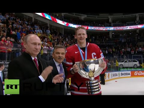 Russia: Putin Awards Ice Hockey Championship Trophy To Canada After 2-0 Win Over Finland
