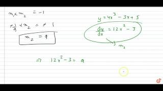 find equation of tangent to curve which is perpendicular to a given line