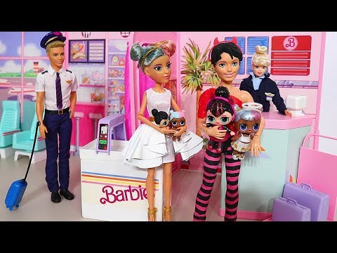 Barbie Doll LOL Family Sugar & Spice Airplane Trip ! Toys and Dolls Fun for Kids | SWTAD