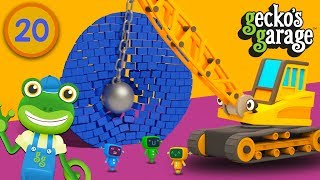 Gecko SMASHES Shapes with a Wrecking Ball Crane | Gecko's Garage | Learn Shapes For Kids