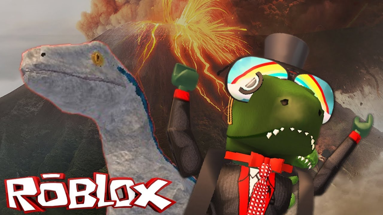 Escaping The Volcano With Blue Roblox Jurassic World Fallen